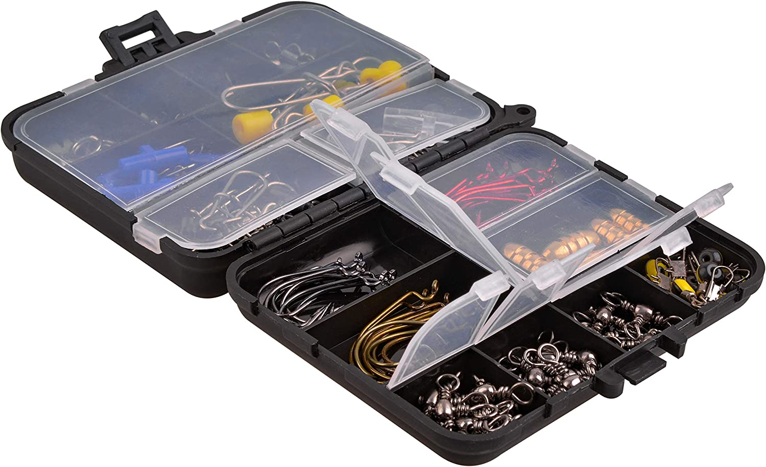 Fishing Gears Kit with Box Fishing Terminal Tackle Accessories Including Jig Hooks Sinker Slides Fishing Swivels Snaps 130pcs Fishing Accessories Tackle Box Kit Brass Copper Sinker Weights