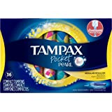 Tampax Pocket Pearl Plastic Tampons, Regular Absorbency, Unscented, 36 Count, (Pack of 3) Packaging May Vary