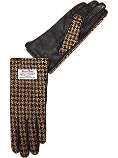 Ladies Brown Leather and Authentic Harris Tweed Gloves COL 39