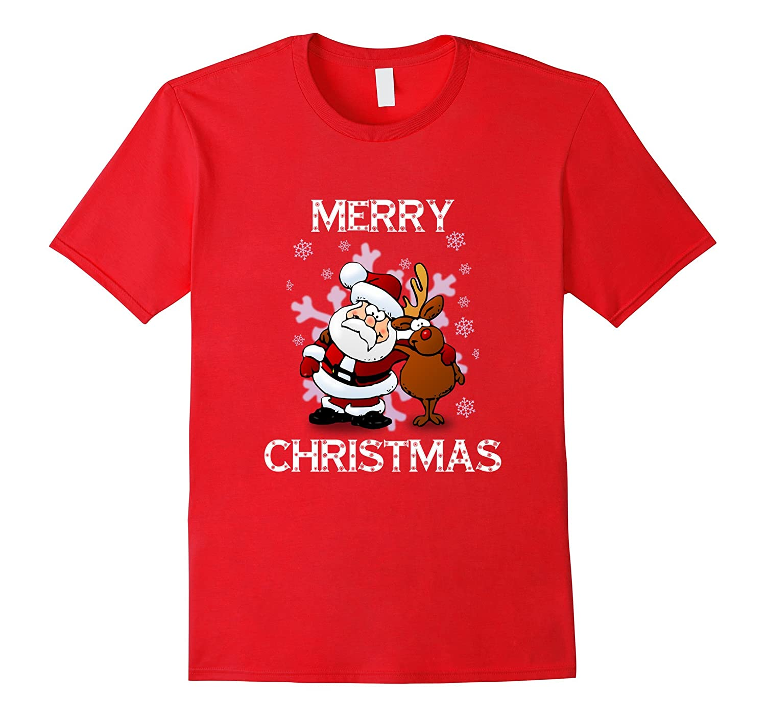 Merry Christmas Santa and Reindeer Shirt-azvn