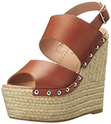 Steve Madden Women's Jummbo Wedge Sandal, Cognac Leather, ...