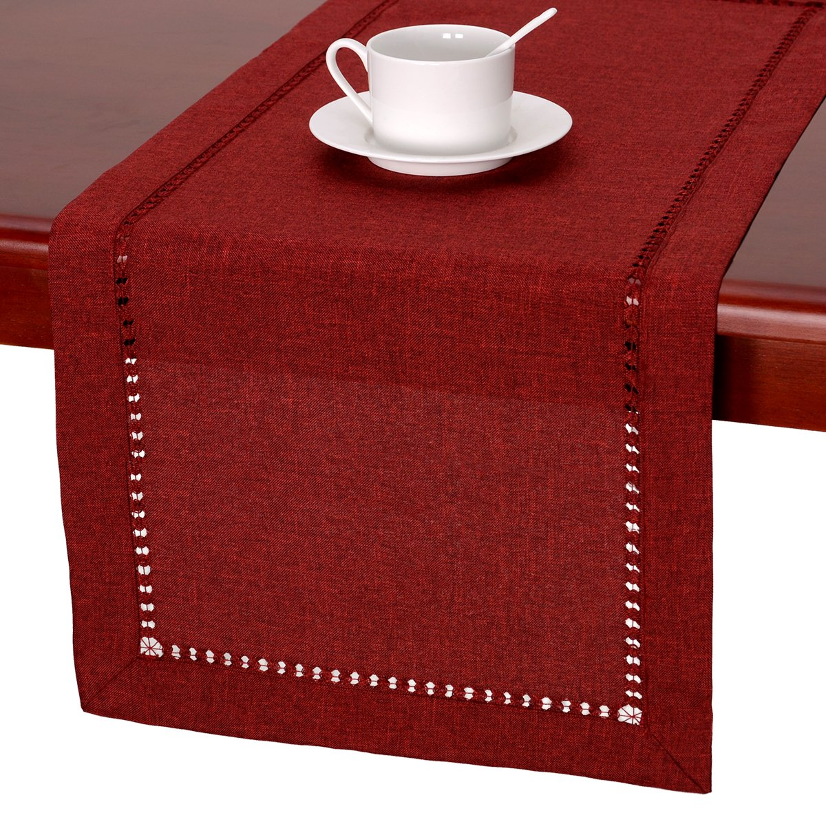 Handmade Hemstitched Polyester Rectangle Table Runners And Dresser Scarves, Cranberry 14x84 inch