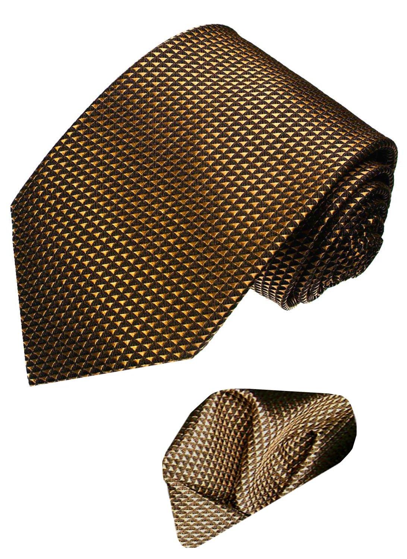 LORENZO CANA Italian 100% Silk Tie Hanky Set Brown Geometric Necktie 8422701 by LORENZO CANA