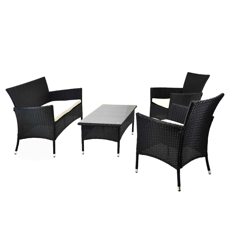 Rattan Set 4tlg mit Glastisch weiß Garnitur Sitzgruppe Gartenmöbel ...