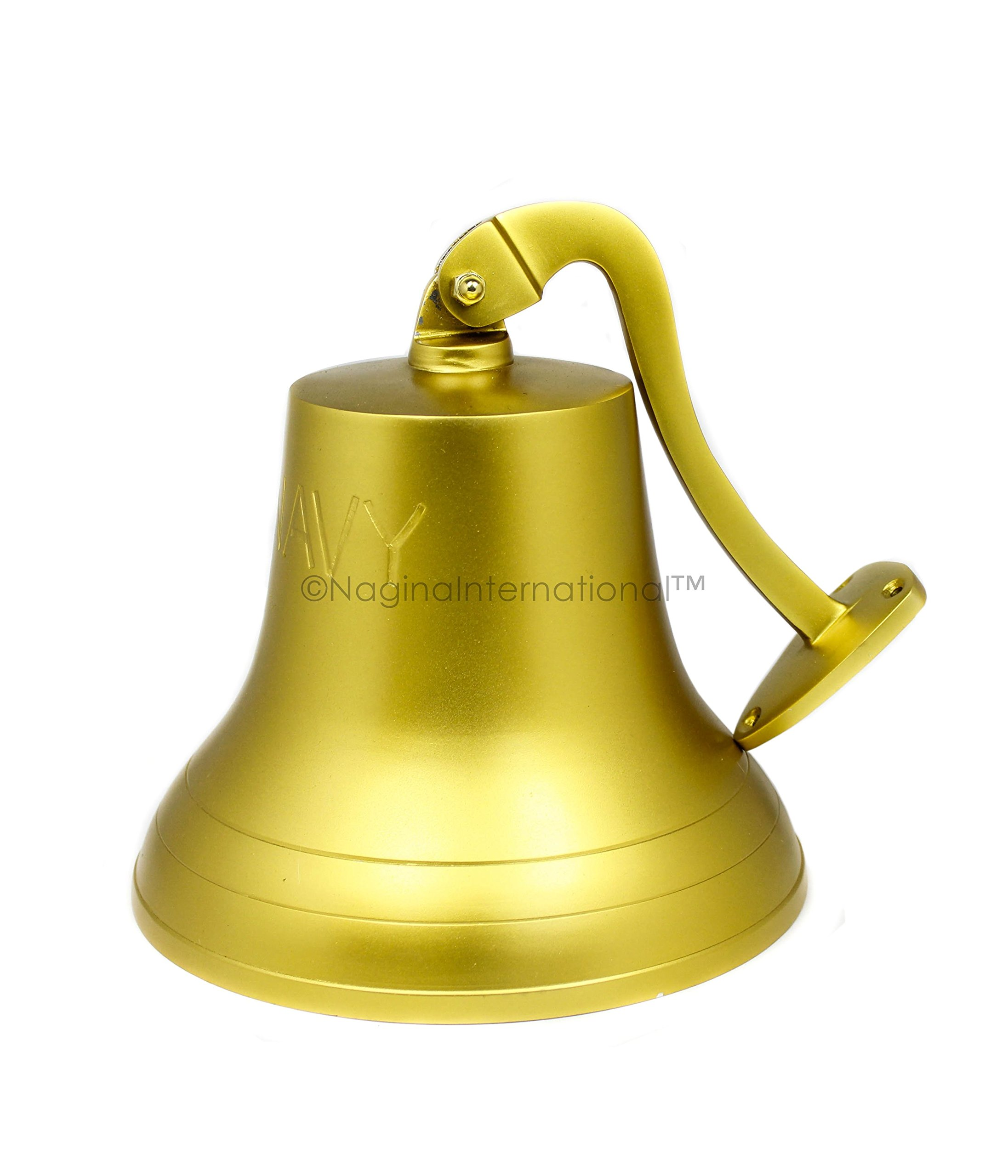 Nagina International 11'' Solid Brass Plated Finished Polished Premium Nautical Boat's Bell | Maritime Navy Ship's Decor & Gifts