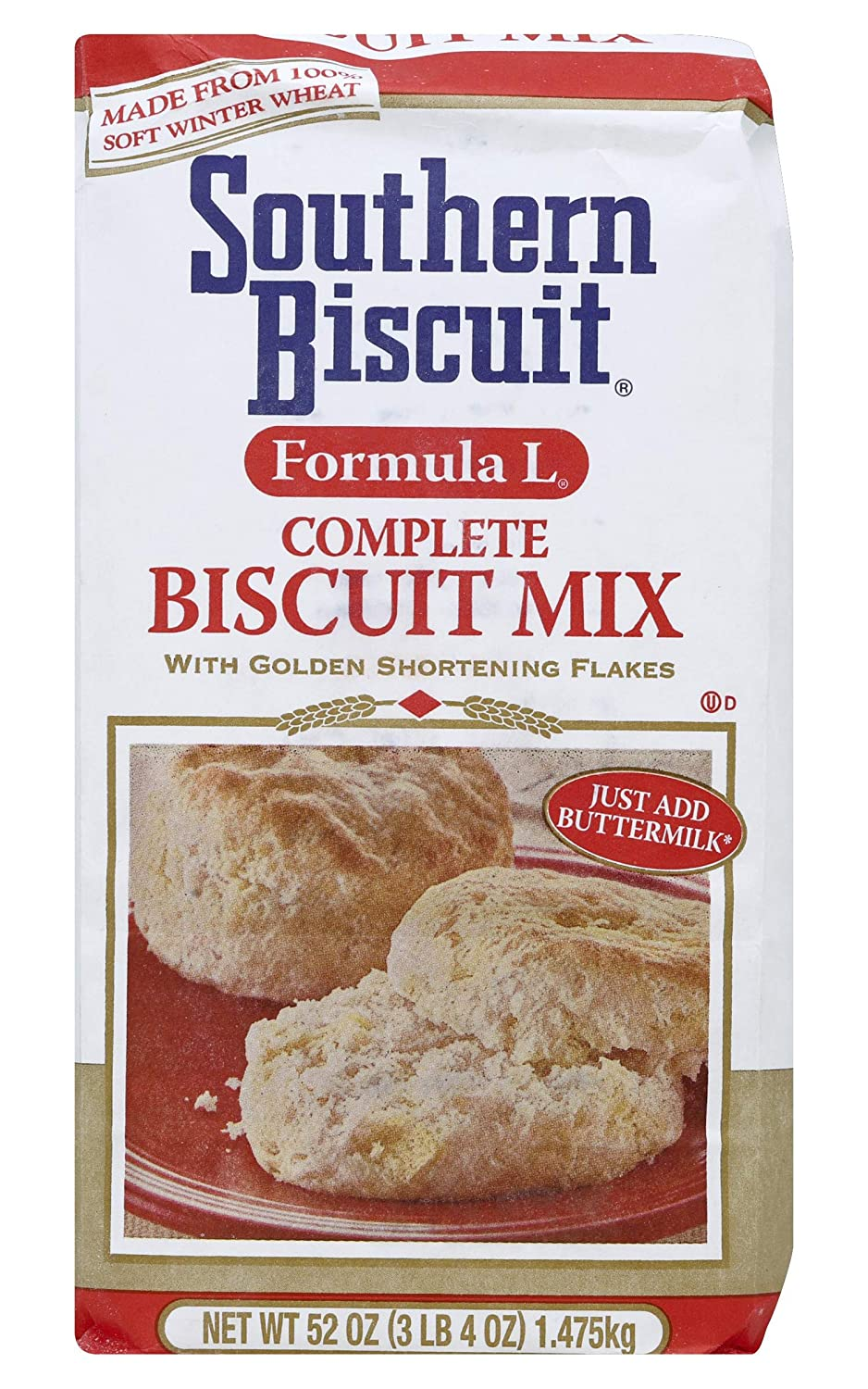 Southern Biscuit Formula L Complete W/Golden Shortening Flakes Biscuit Mix, 52 Ounce