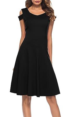 b79331556c0 THANTH Womens Cold Shoulder Short Sleeve V Neck Cocktail Party A-line  Skater Dresses Black