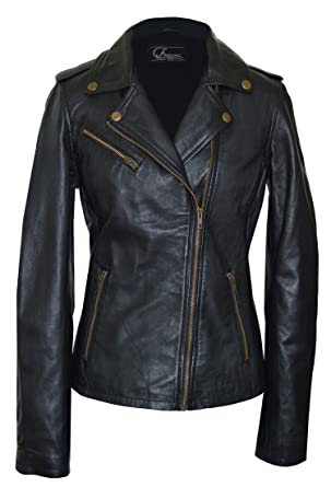 Women's black lambskin leather jacket