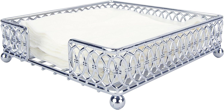 Home Basics Chrome Plated Steel Infinity Collection Flat Napkin Holder Organizing Stand, Elegant Design, Silver Chrome
