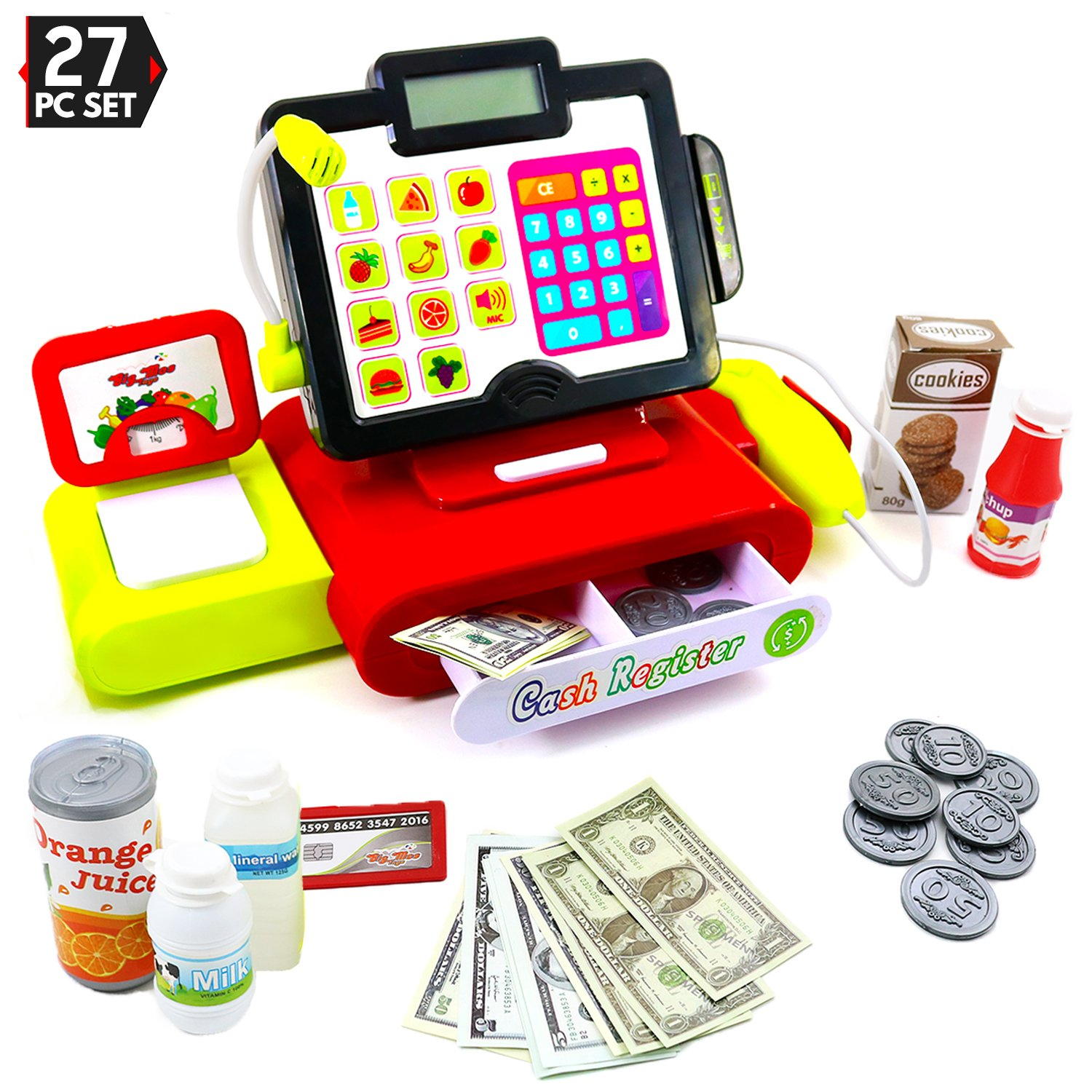 Big Mo's Toys 27 Piece Cash Register Set with Pretend Play Food, Money, Lights and Sounds by Big Mo's Toys