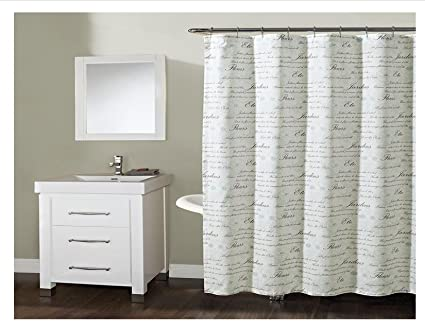 Image Unavailable Not Available For Color French Script Shower Curtain