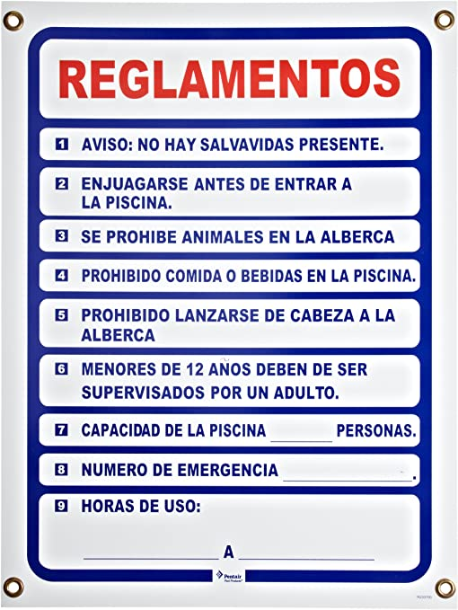 Pentair r233700 español Piscina Reglas Piscina señal, se Vende ...