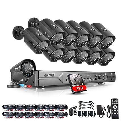 ANNKE Kit Sistema de seguridad de 12 Cámaras de vigilancia 720P Metal(DVR 24 Canales