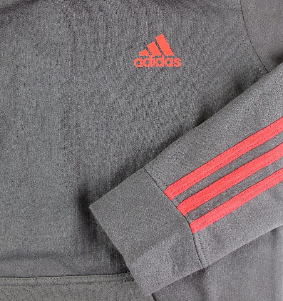 Outerstuff adidas Youth Fleece Collection (Youth Xlarge 18/20, Fleece Pullover Hoodie, Dark Gray/Scarlet) by Outerstuff