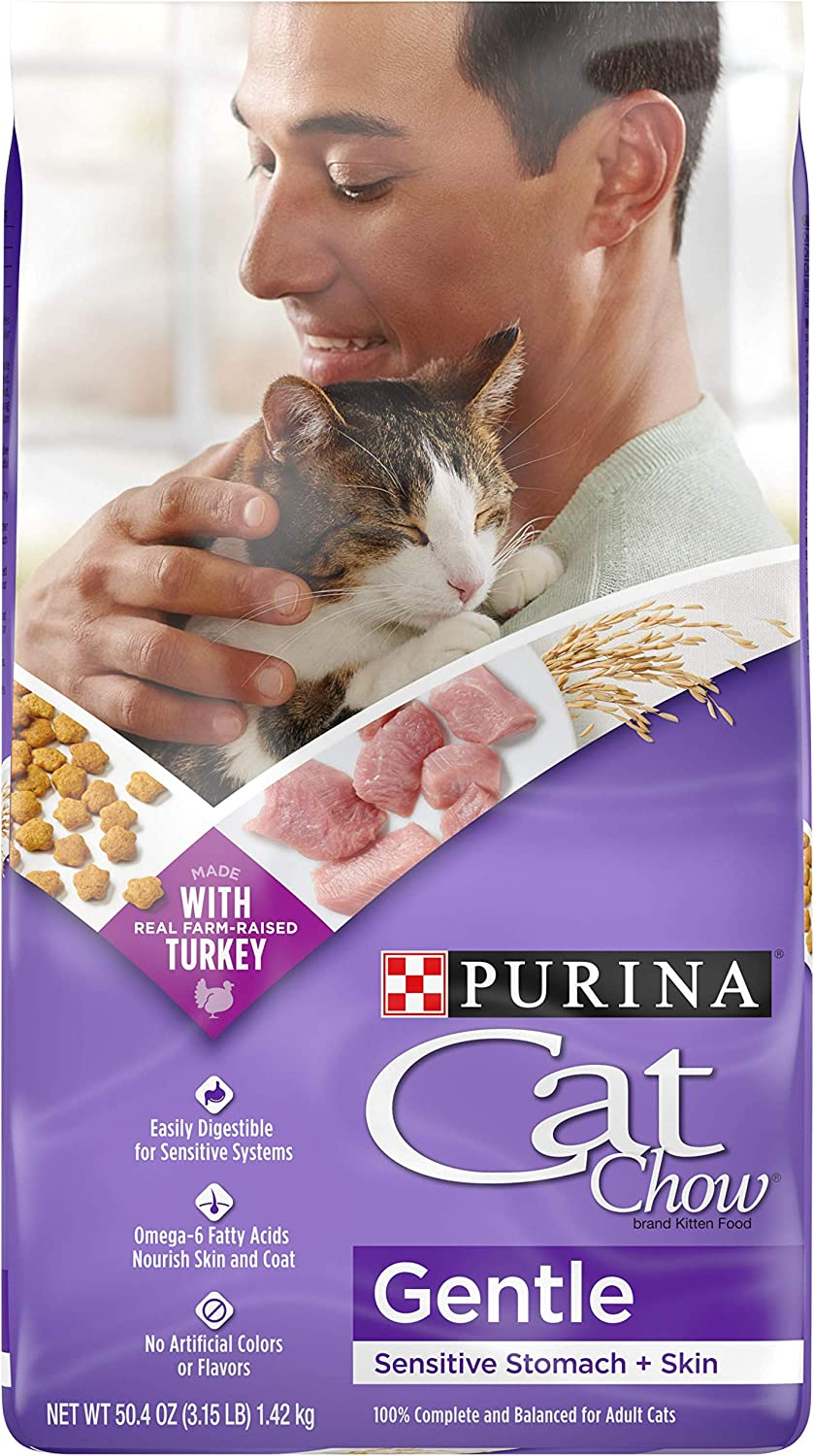 Purina Cat Chow Sensitive Stomach Dry Cat Food, Gentle - (4) 3.15 lb. Bags