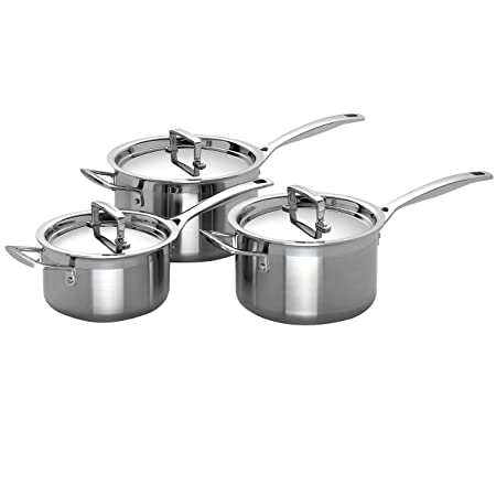 Le Creuset 3-Ply Stainless Steel Saucepan Set, 3 Pieces - Silver ...