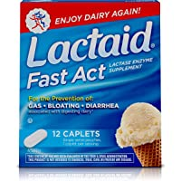 12 Pack Lactaid Fast Act Lactose Intolerance Relief Caplets with Lactase Enzyme