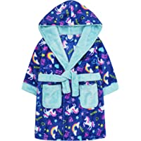 MiniKidz & 4Kidz Childrens/Girls Bright Unicorn Print Fleece Dressing Gown