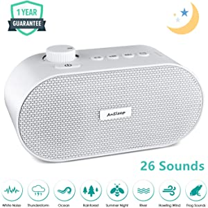 White Noise Machine, Noise Sound Machine, Sleep Sound Machine with Non Looping Soothing Sounds