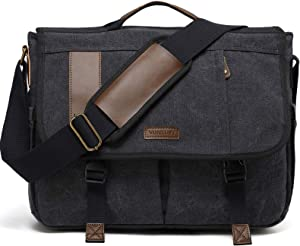 Messenger Bag, 17 In Laptop Bag Vintage Water Resistant Canvas Shoulder Bag Satchel for Men by VONXURY