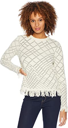 fce7b04c61 Ivanka Trump Women s Long Sleeve Printed Sweater w Frayed Hem Bisque Black  X-