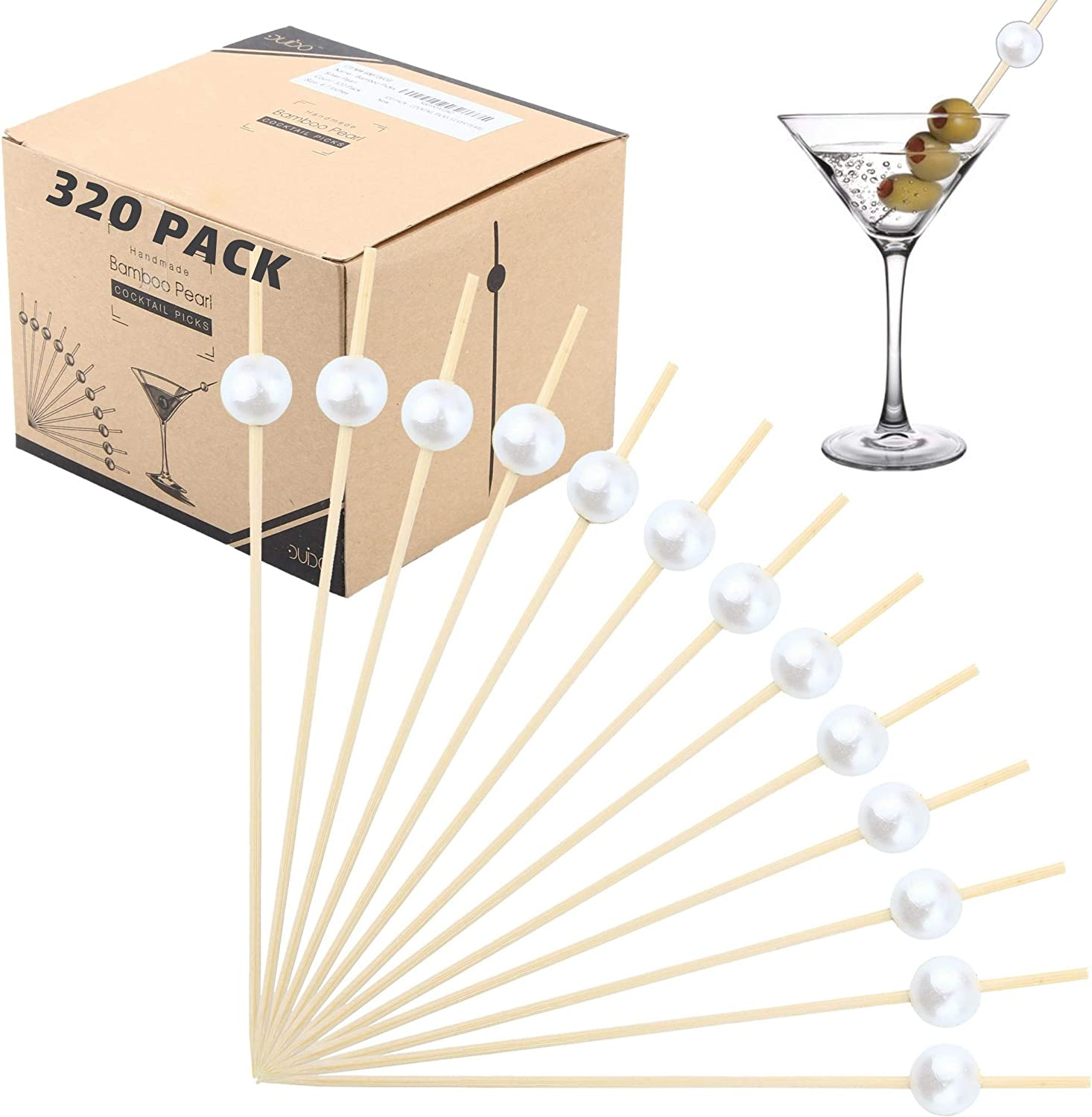 Bamboo Cocktail Picks Skewers Toothpicks - (Pack of 320) 4.75 Inch White Pearl Wooden Frill Tooth Picks for Appetizer Martini Food Garnish Cocktail Sandwich Fruit Kabobs – Catering Weddings Decorative
