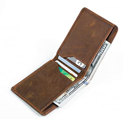 0165ec88acd8 Onstro RFID Blocking Slim Wallet for Men Money Clip Bifold Grain Leather  Front Pocket (Brown A)