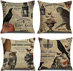 Set of 4 Vintage Halloween Pillow Case 18x18 Inch Square Linen, Owl/Crow/Pumpkin for Halloween Throw Pillow Covers Home Decor Halloween Cushions Goth's Home Decoration