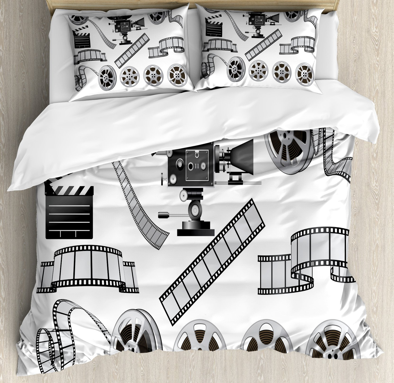Ambesonne Movie Theater Queen Size Duvet Cover Set, Movie Industry Themed Greyscale Illustration of Projector Film Slate and Reel, Decorative 3 Piece Bedding Set with 2 Pillow Shams, Grey Black