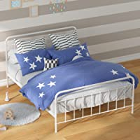 Zinus Florence Double Bed Frame | Metal Platform White Bed for Kids Toddler French Vintage