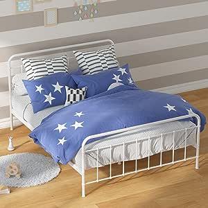 Zinus Florence Double Bed Frame   Metal Platform White Bed for Kids Toddler French Vintage