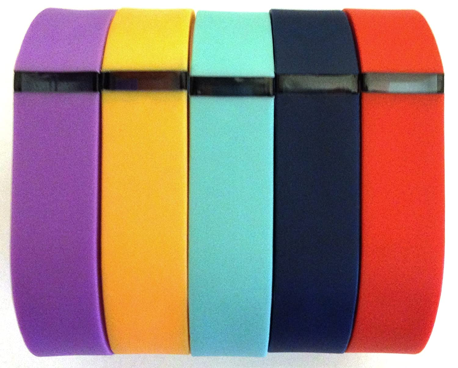 Set Large L 1pc Orange 1pc Violet 1pc Red (Tangerine) 1pc Teal (Blue/Green) 1pc Navy Replacement Bands for Fitbit FLEX Only With Clasps /No tracker/ Wireless Activity Bracelet Sport Wristband Fit Bit Flex Bracelet Sport Arm Band Clasp Armband