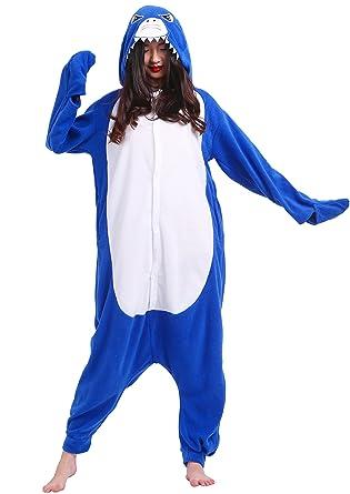 Unisex Adult Animal Pajamas Plush One Piece Cosplay Shark (140-187cm)