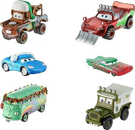 Mattel Disney Cars FBG37 - Disney Cars 3 Coches de Navidad Die-Cast 6-pack - Snowplow Lightning McQueen, Sarge con Luces de Techo, Invierno Mater, Crucero Ramone, Nieve Sally y Fillmore: Amazon.es: Hogar