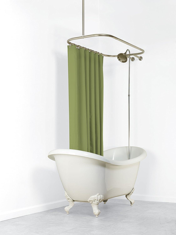Amazon Zenna Home 34941BN NeverRust Aluminum Hoop Shower Curtain Rod For Claw Foot Tubs Satin Nickel Kitchen