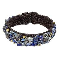 "NOVICA Lapis Lazuli Woven Cuff Bracelet, 6.5"", Ocean Day'"