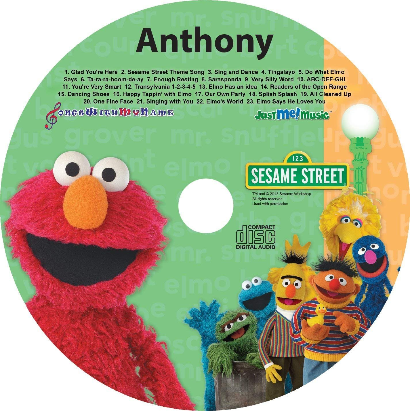 Gombita Enterprises Children Name Personalized CD or MP3 Sing Along with Elmo and Friends Customize Now (CD Disk) by Gombita Enterprises