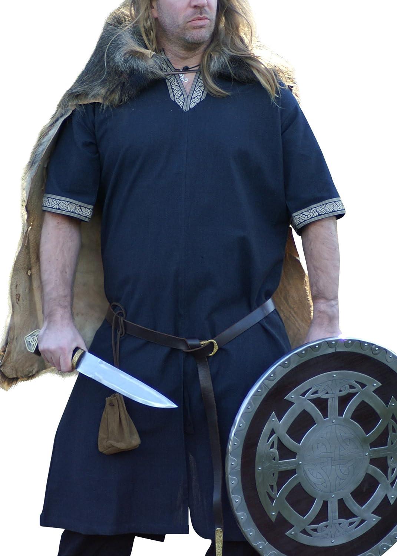 Camisas de manga corta medievales, azul - para juegos de rol, los vikingos y de la Edad media