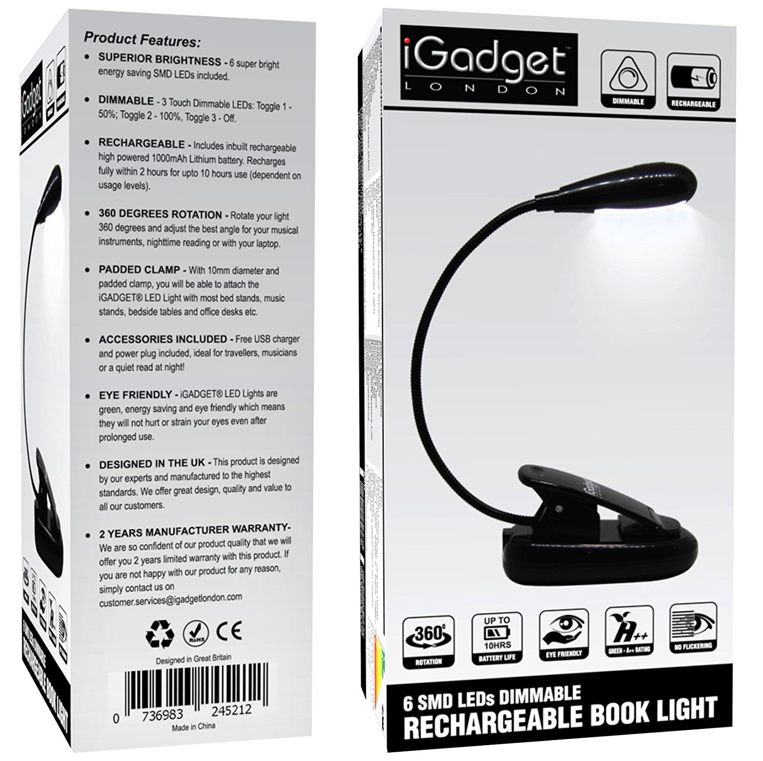 igad 6 smd led rechargeable dimmable cordless book