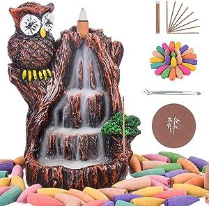 Soyo Waterfall Incense Burner, Backflow Incense Holder Owl Design for Aromatherapy Ornament Home Decor with 120 Backflow Incense Cones + 30 Incense Sticks + 1 Tweezer