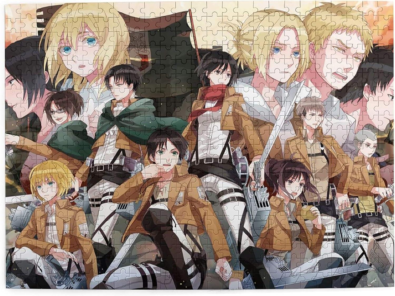 Bingchuan Attack on Titan Jigsaw Puzzles Puzzles de Madera Póster Murales de Anime 500 Piezas Puzzles Survey Corps Juego de Rompecabezas de Bricolaje para Adultos y niños