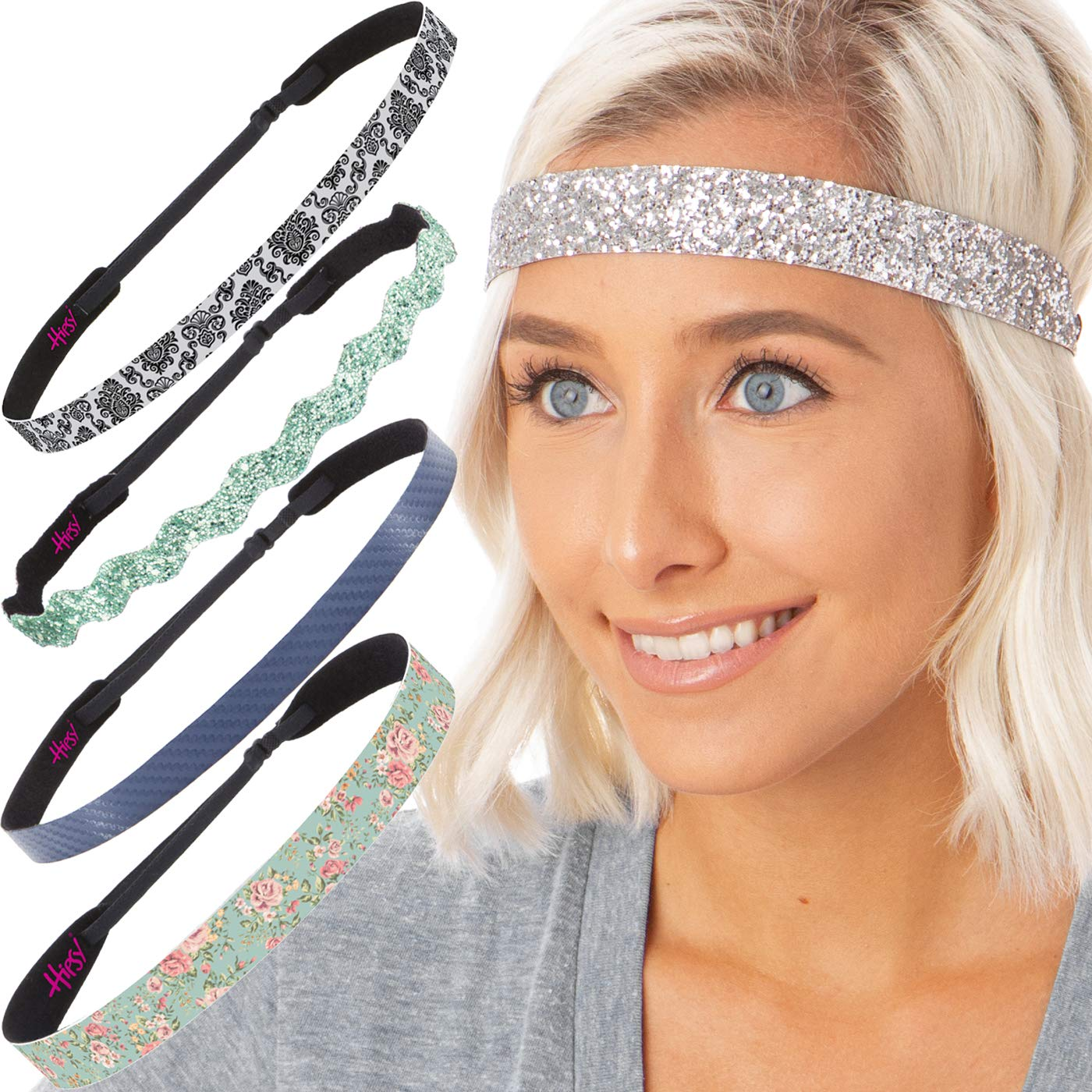 Hipsy 5pk Women's No Slip Headband Adjustable Aqua Flower Vine