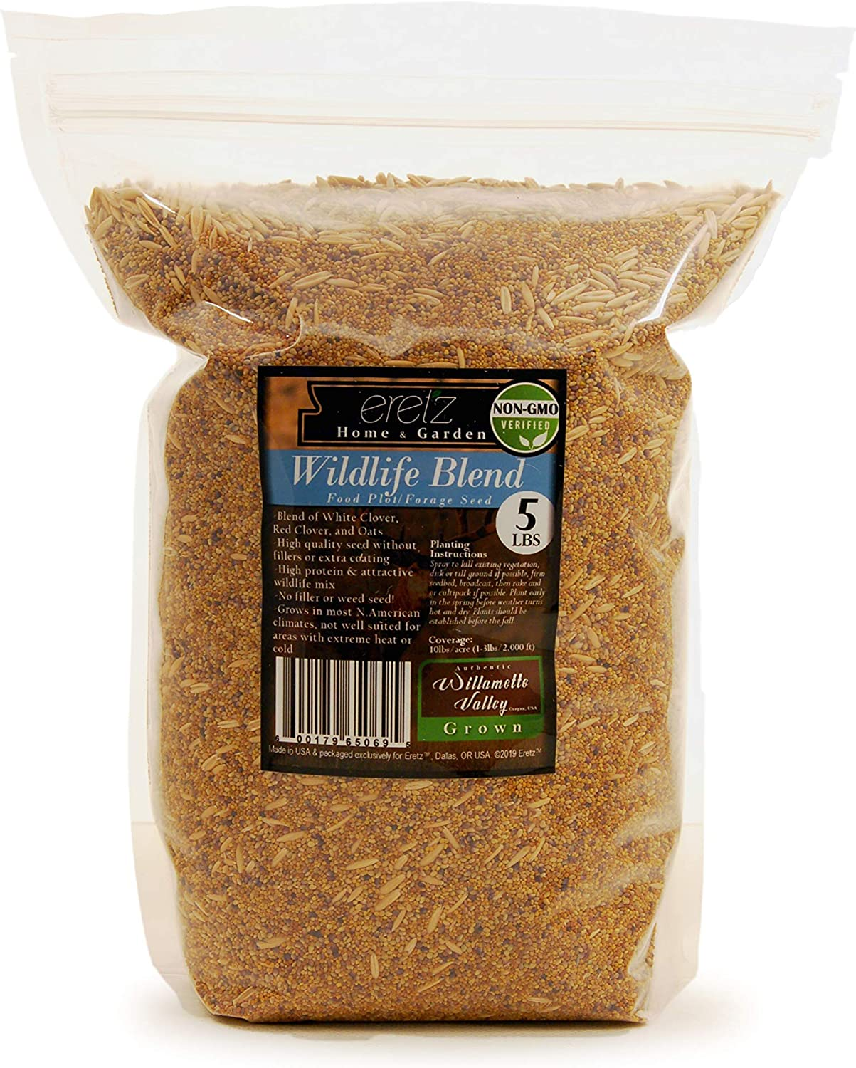 Wildlife Food Plot Blend & Forage Seed Mix by Eretz (5lb) - Choose Size! Willamette Valley, Oregon Grown, Attract and Feed: Deer, Turkeys, & More! No Coatings, No Weed Seeds.