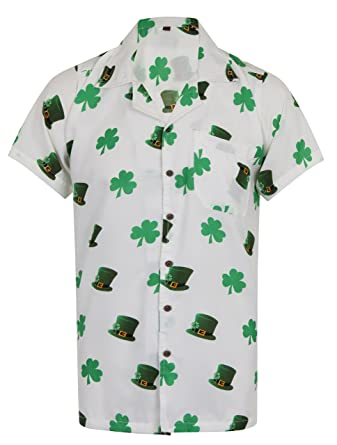5fd3afad Hawaiian Shirt Saint Patrick's Day ST Patricks Ireland Irish Clover Leaf  Mens Loud Aloha Dublin Hawaii