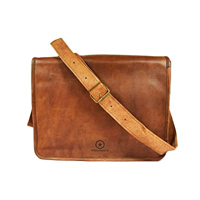 8379c367d81a Handmade Vintage Leather Crossbody Laptop Messenger Satchel Bag Tan ...