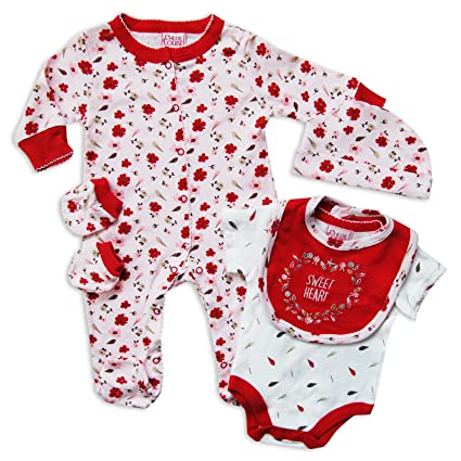 5 piezas bebé niñas ajuar Outfit Set sweet diseño de corazón Pelele de flores en color