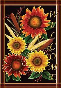 Toland Home Garden Sunflower Welcome 12.5 x 18 Inch Decorative Fall Autumn Flower Garden Flag