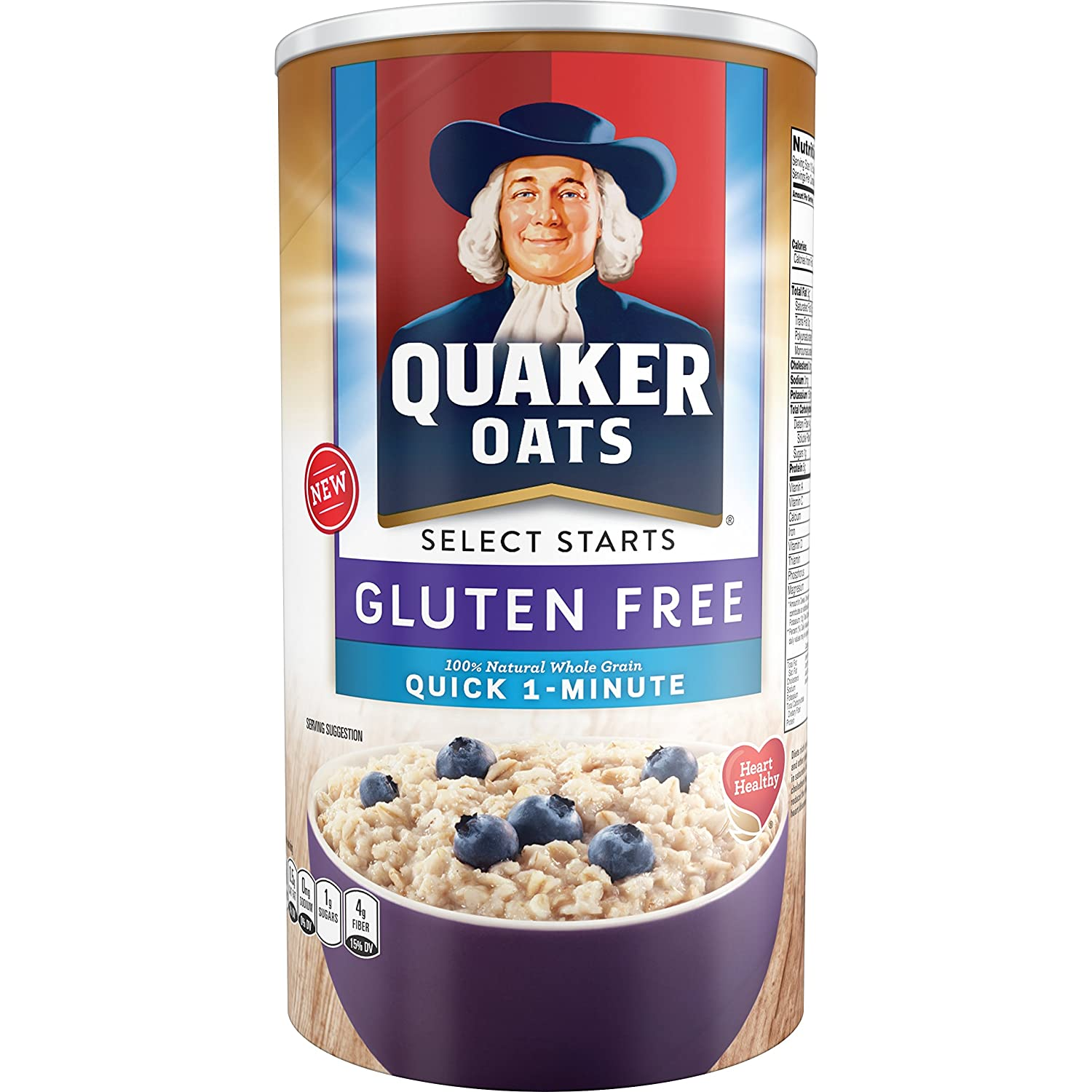 Com Quaker Oats Gluten Free Quick 1 Minute Original Breakfast Cereal 18 Ounce Canister Pack Of 12