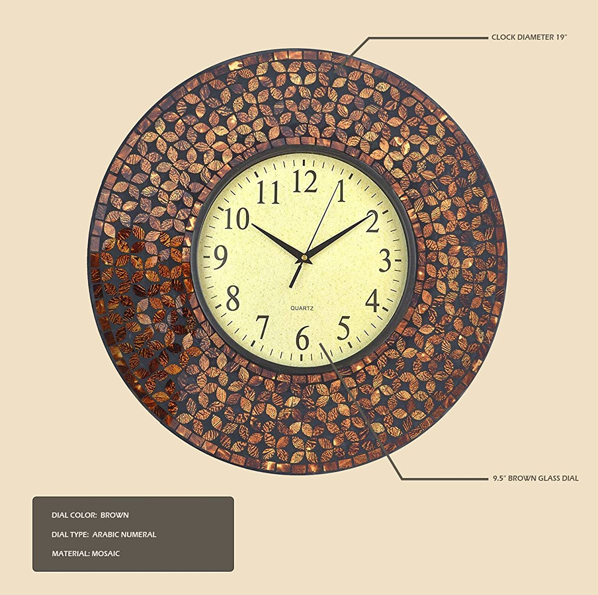 "LuLu Decor, 19"" Amber Flower Mosaic Wall Clock with Black Cement, Arabic Number Glass Dial 9.5"" for Living Room & Office Space"