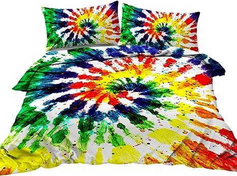 Erosebridal Tie Dye Bedding Queen Size Colorful Rainbow Bedding Set with Zipper Ties Chic Hippie Style Girls Boys Duvet Cover for Adult Women Teen Tie Dye Decor Soft Microfiber Comforter Cover Set